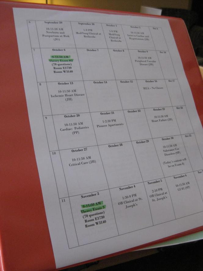 The syllabus calendar goes in the front slot of my binder.